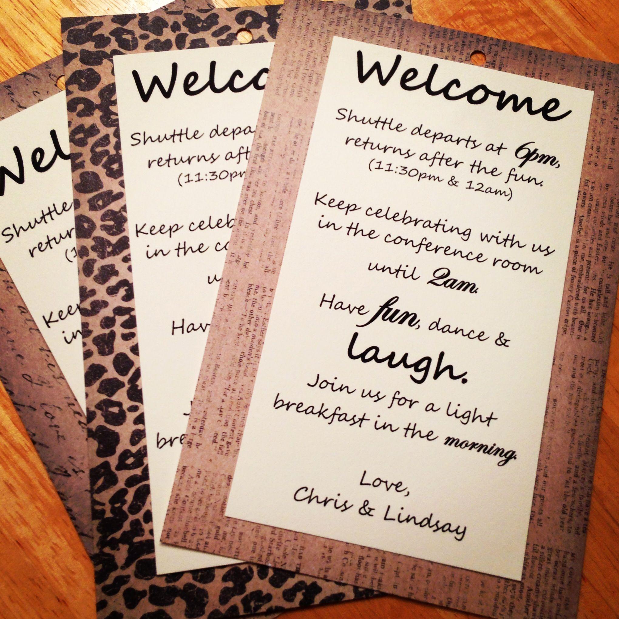 Hotel Gift Bags For Wedding Guests Poem : Hotel Wedding Thank You bag tags. Awsome wedding ideas! Pinterest