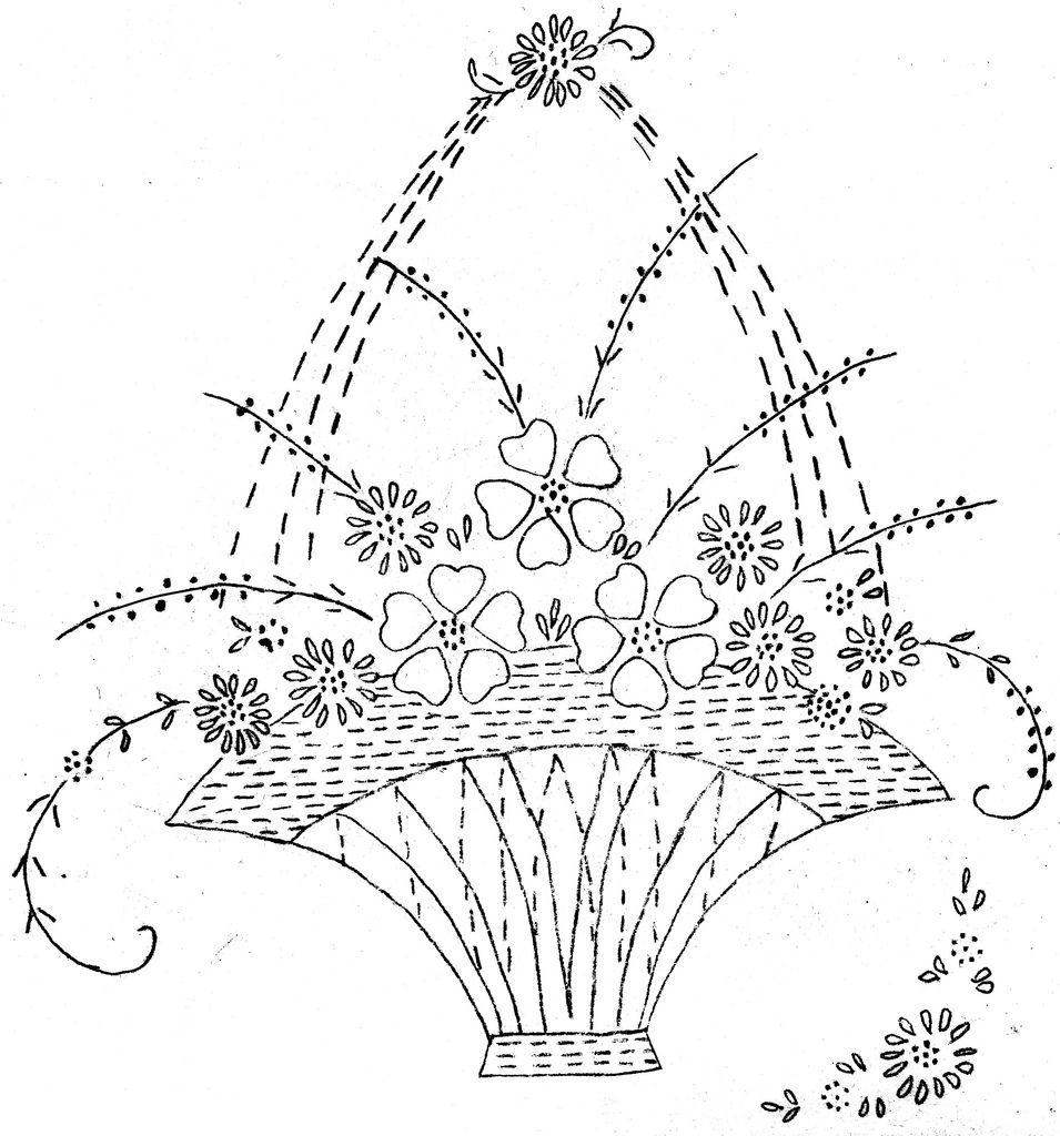 Free Flower Basket Embroidery Designs : Floral basket embroidery or redwork vintage flowers