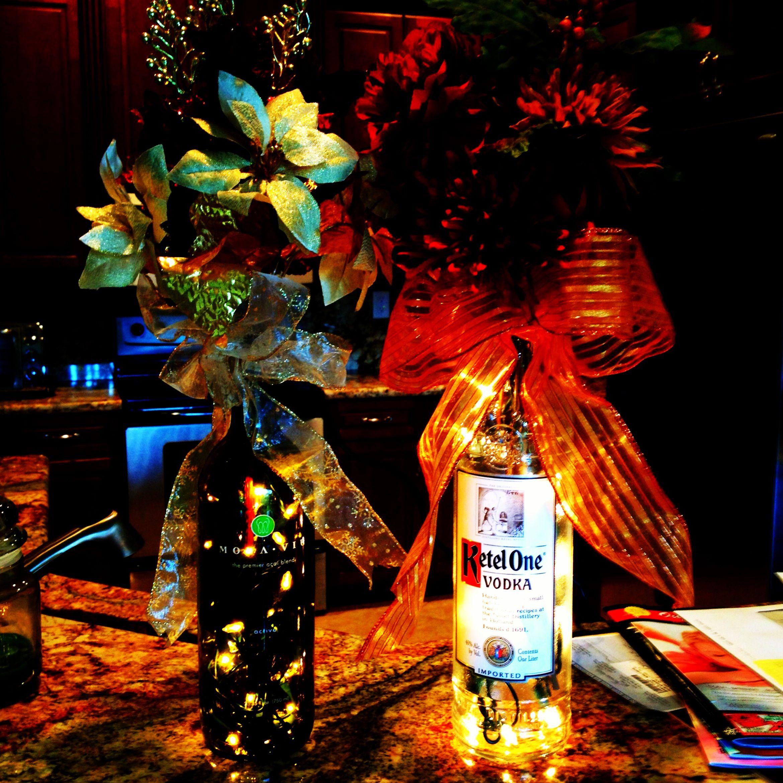 Wine bottle christmas light decorations crafts pinterest for Wine bottle light ideas
