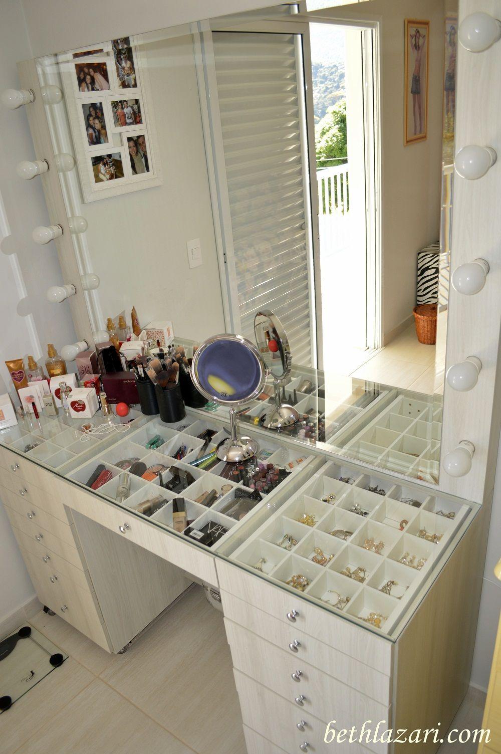 Glass makeup vanity
