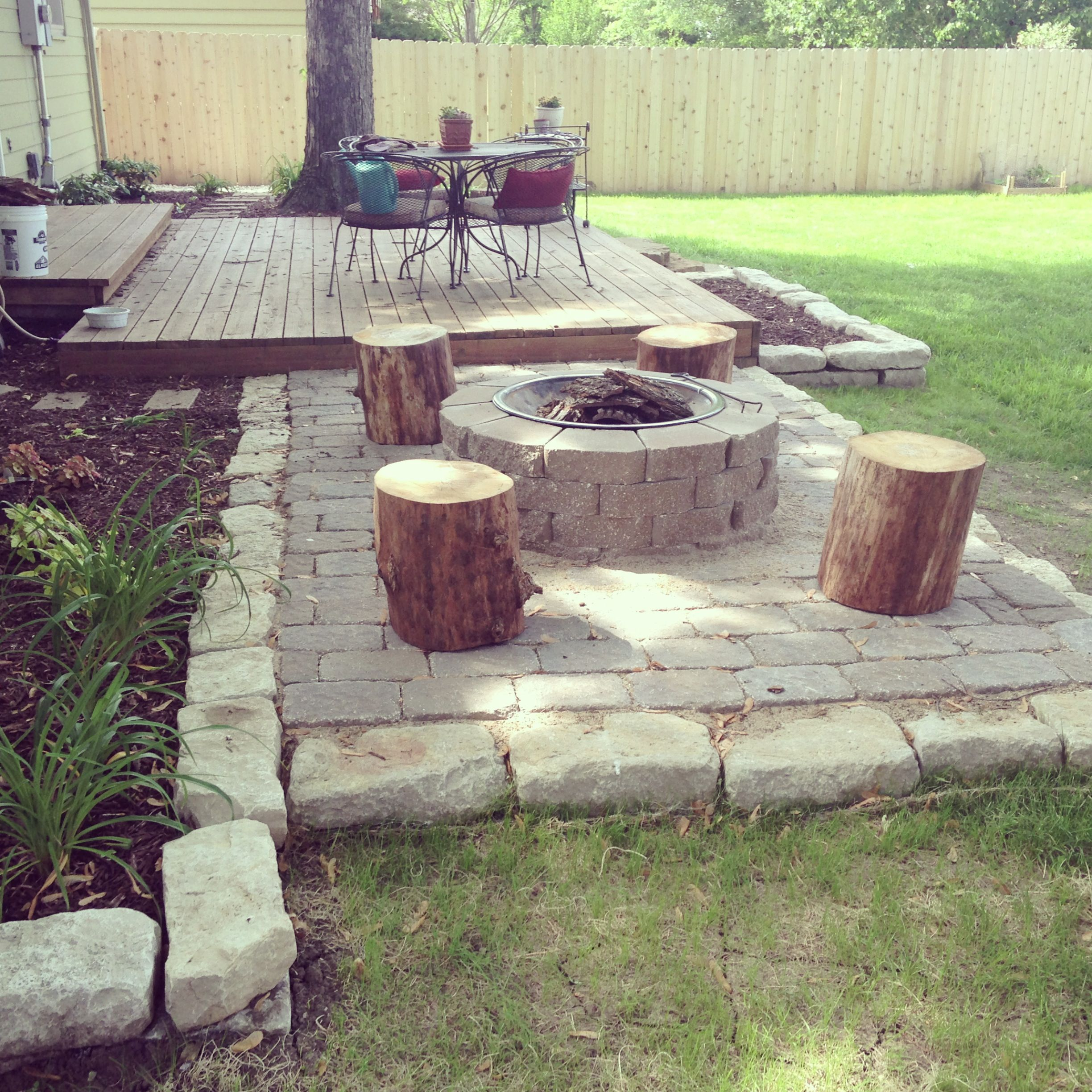 stumps for seats around fire pit i want a patio pinterest
