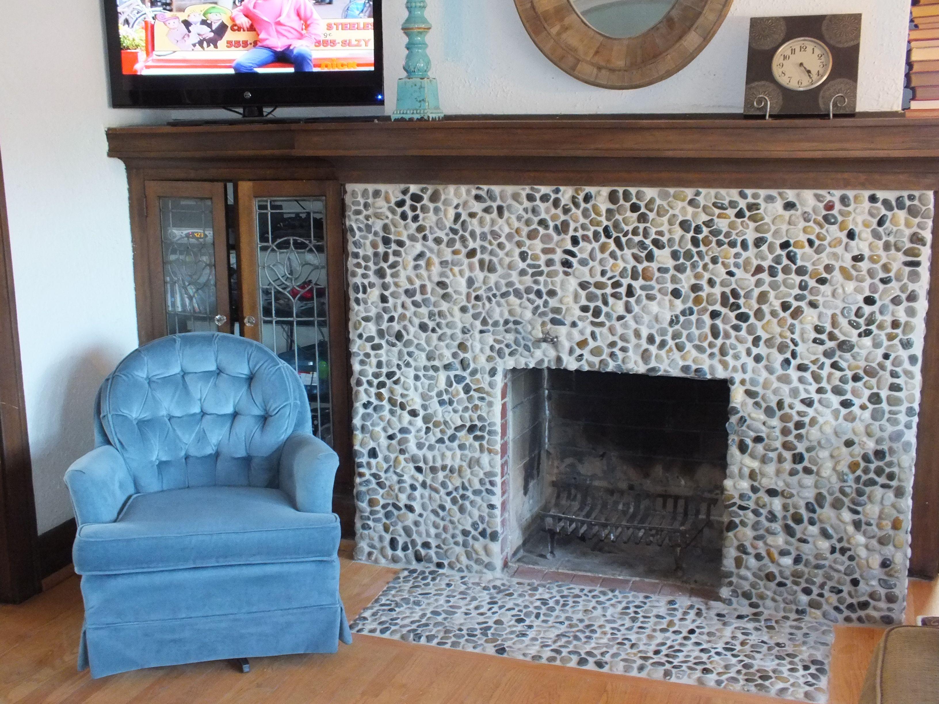 Polished River Rock Fireplace Kaitlynn Pinterest