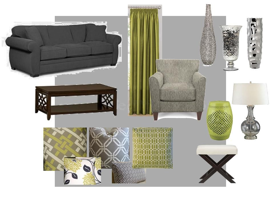 Green And Gray Living Room Home Decor Pinterest