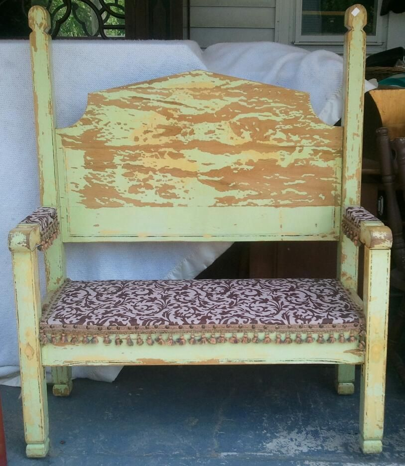 vintage bed frame repurposed into bench headboard and