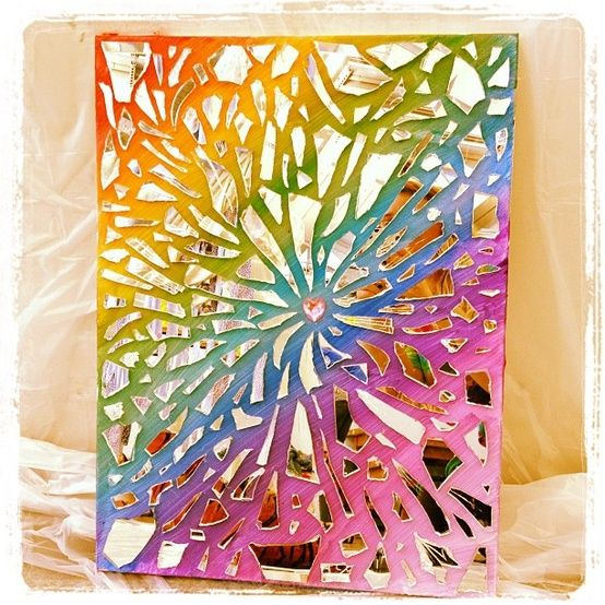 Paint then put broken mirror pieces projects to try for Broken mirror craft ideas