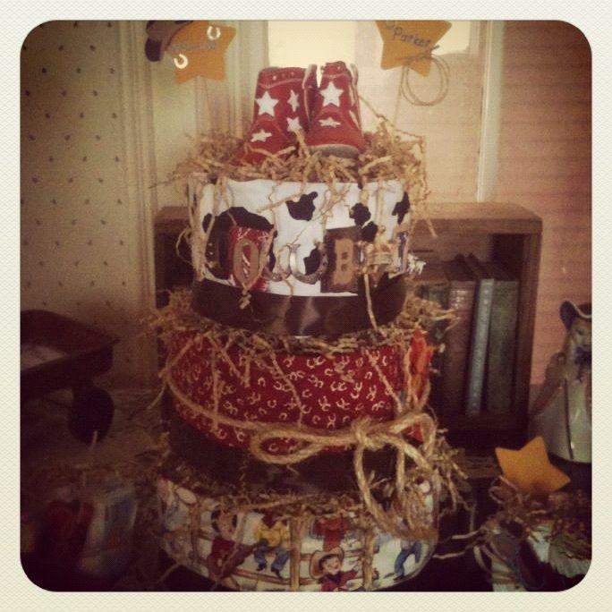 Baby Shower Cowboy Theme: Cowboy Theme Baby Shower DIAPER CAKE