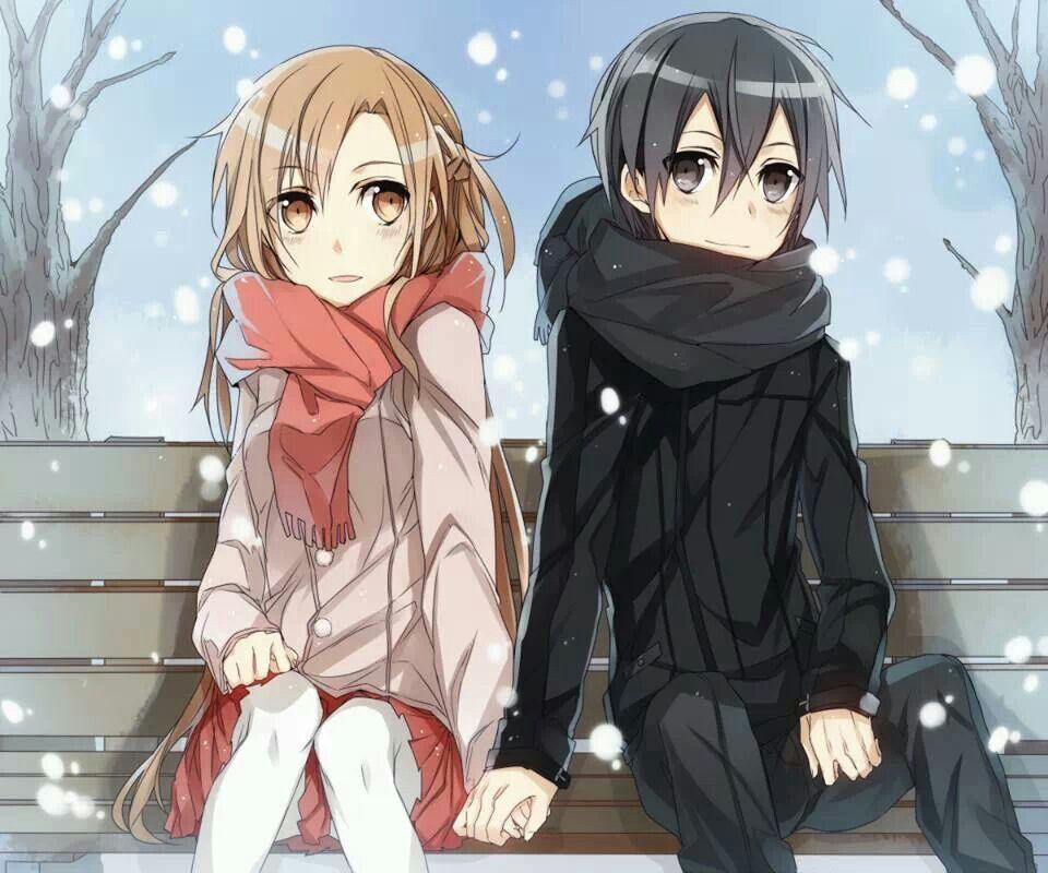 Kirito x asuna christmas anime manga pinterest