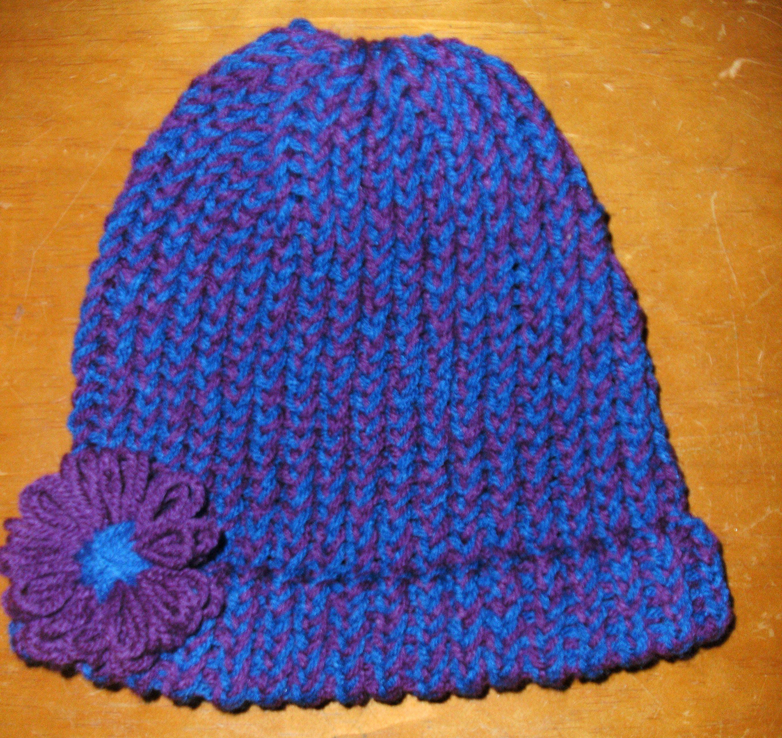 Knitting Flowers On A Loom : Loom knit hat with flower knitting crochet