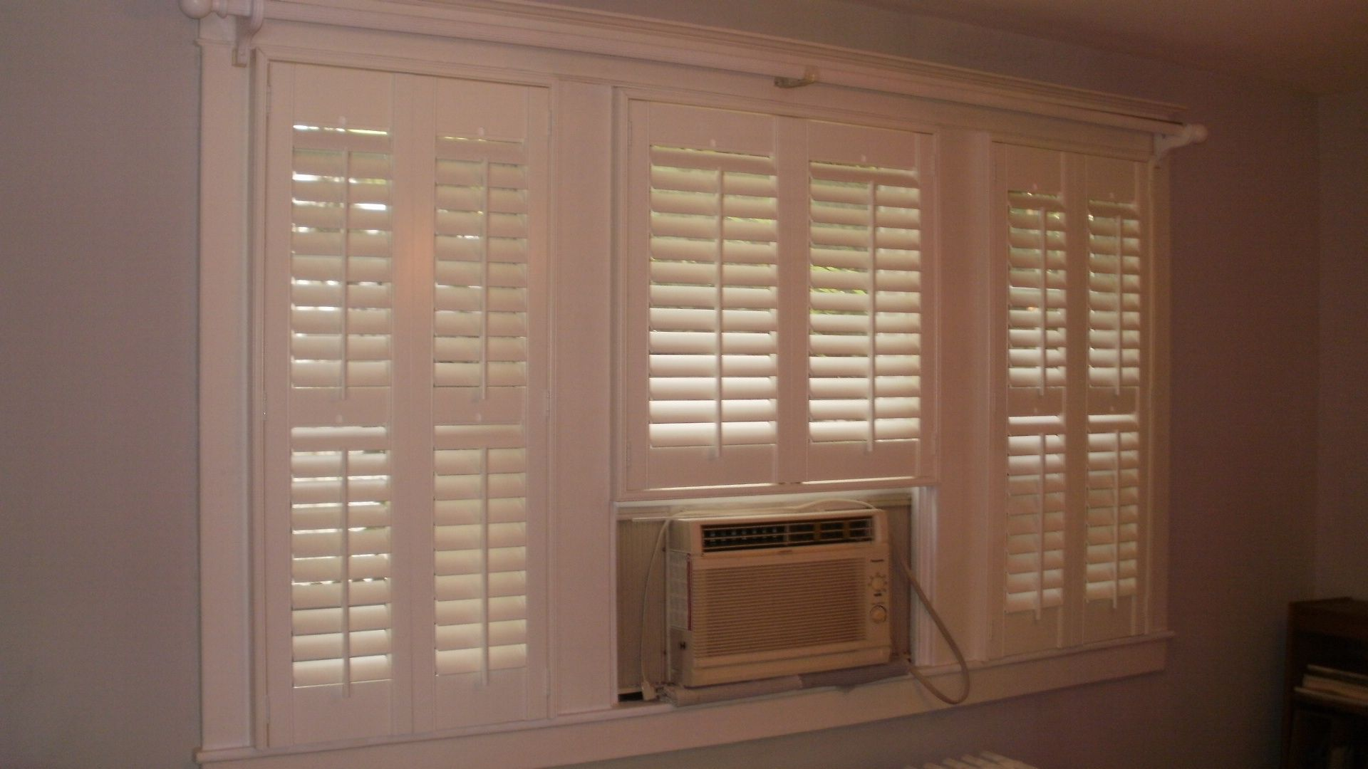 built around air conditioner Beautiful Window Treatments f #442B20