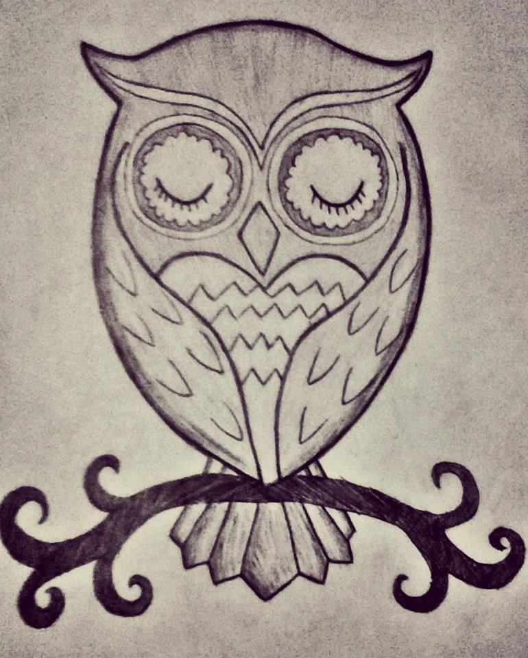 Cute easy owl drawing
