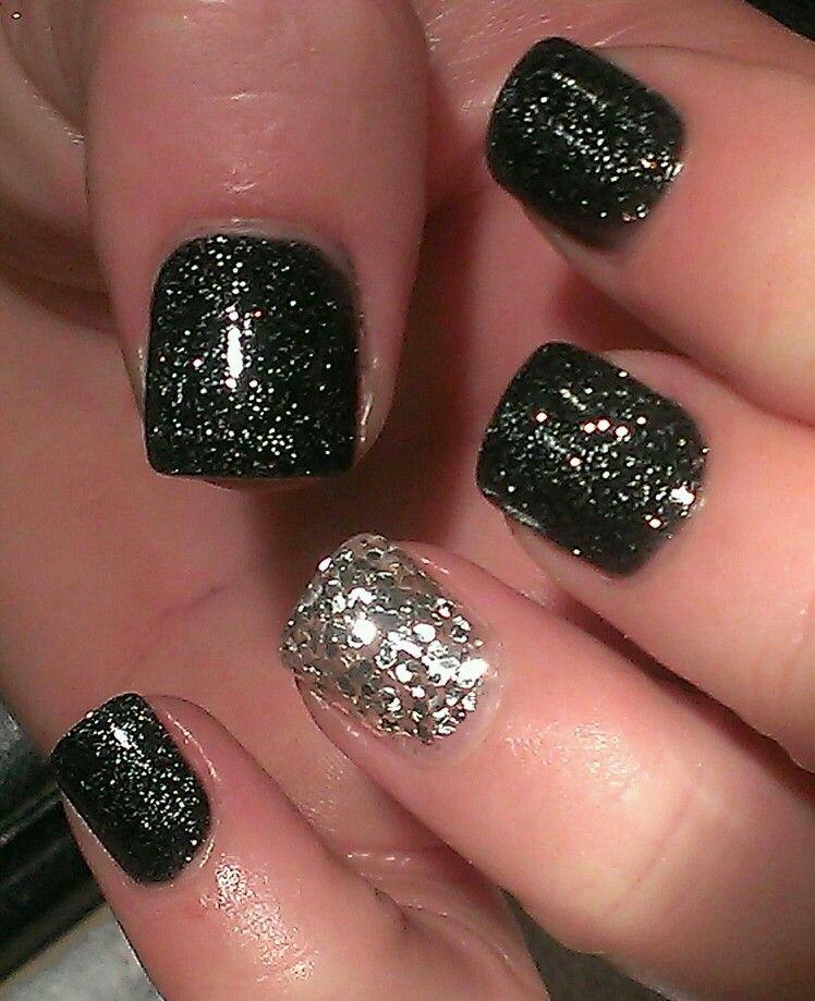 Black and silver bling acrylic nails | Nailing | Pinterest