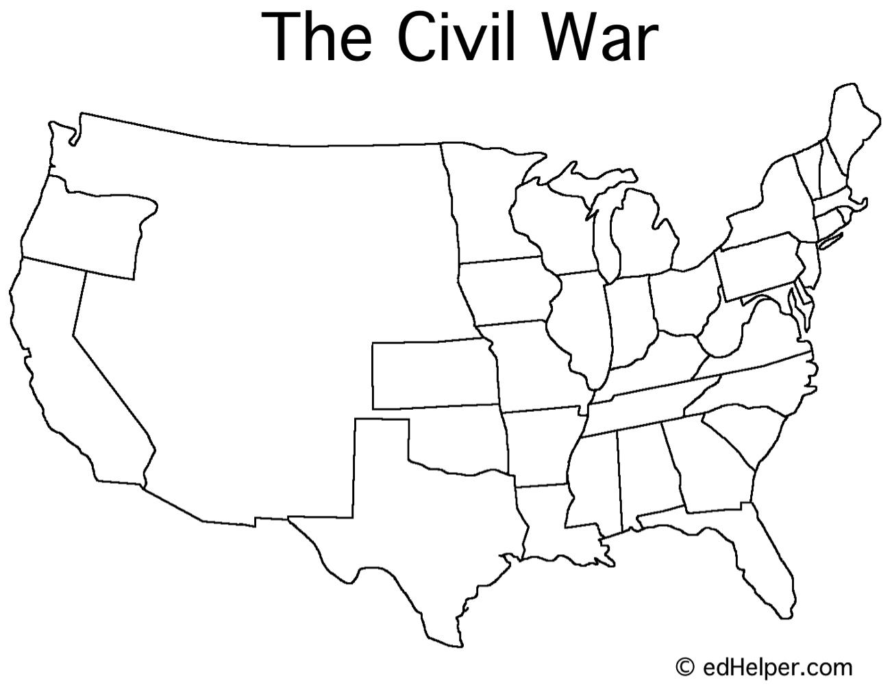 Blank Us Civil War Map Printable Editable Blank Calendar - Us history civil war blank map