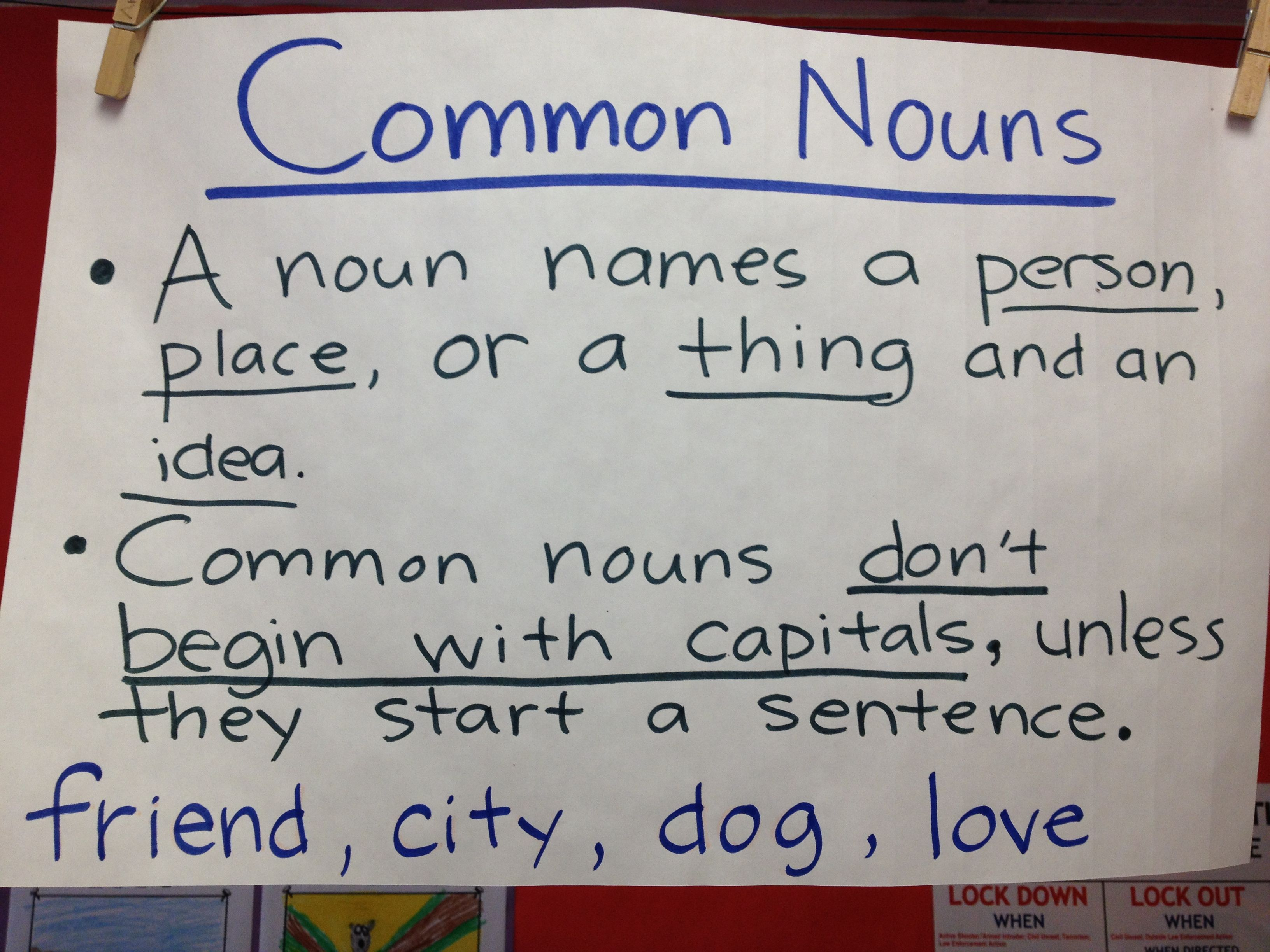 Common Nouns | Classroom Posters | Pinterest
