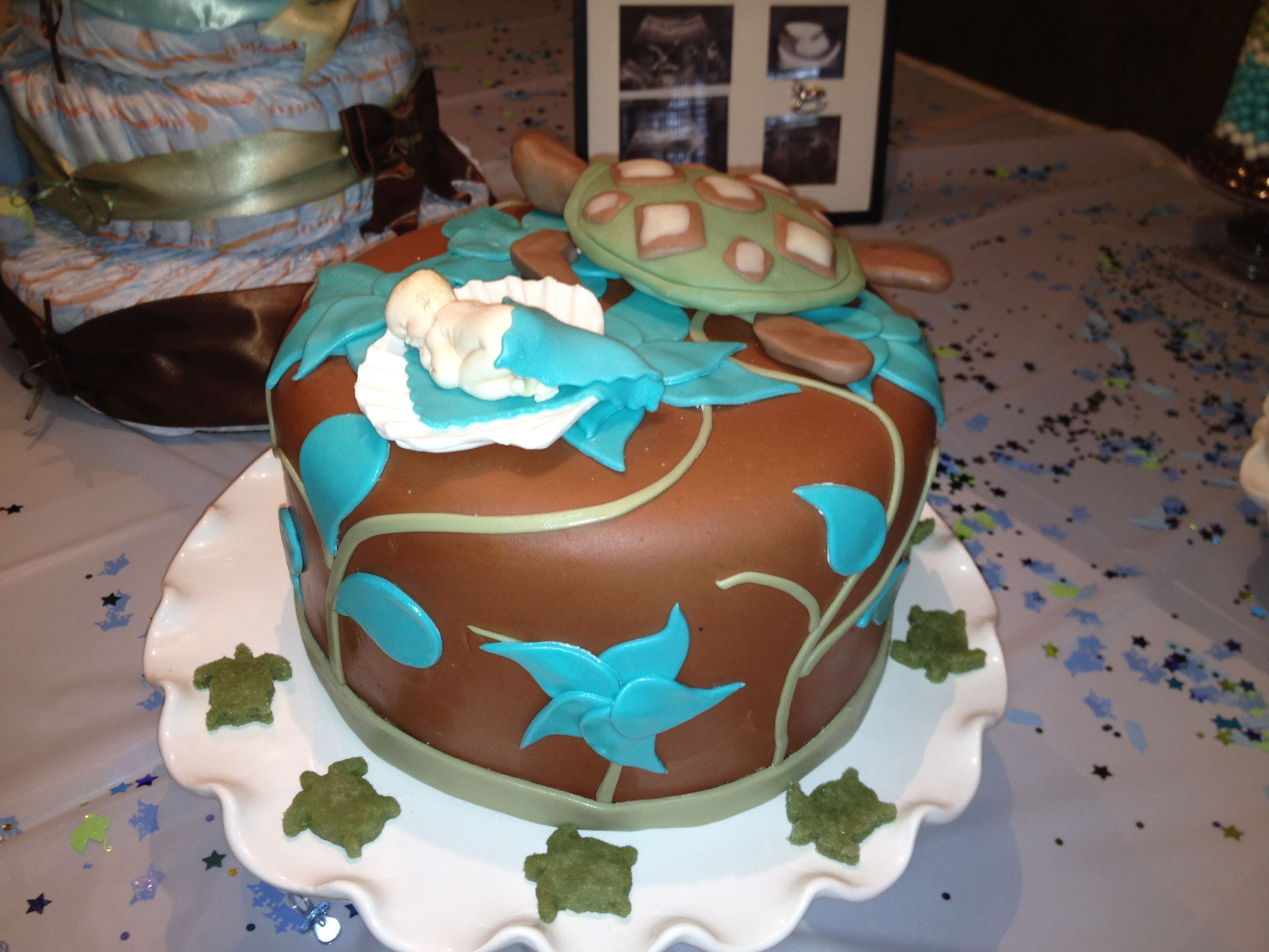 turtle themed baby shower cake my cake creations pinterest