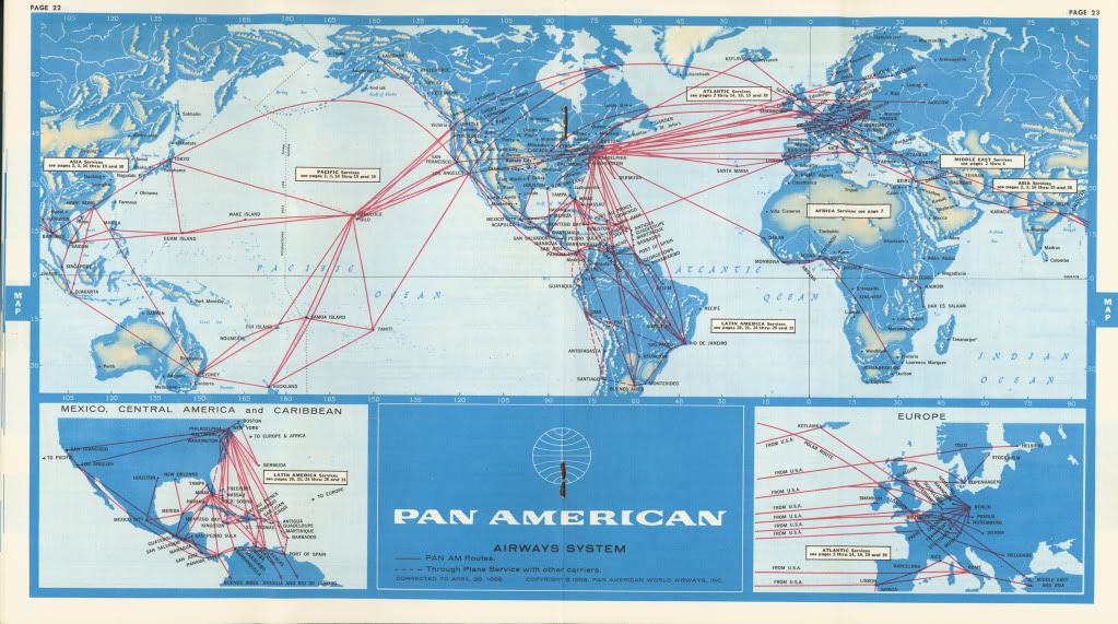 1960s Pan Am Route Map Old Spies Map Pan Am Flight Map