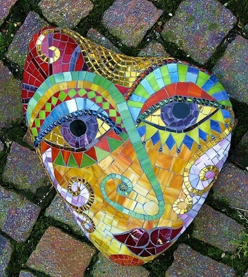 Whimsical face mosaic pinterest for Garden mosaics designs