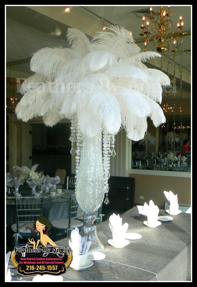 Crystal feather centerpiece wedding ideas pinterest