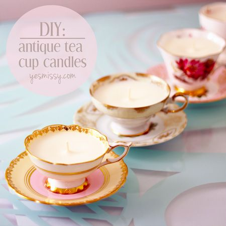 DIY antique tea cup candles.  Im a bit torn as to whether or not this is actually a good idea, but it is soooo adorable I cant
