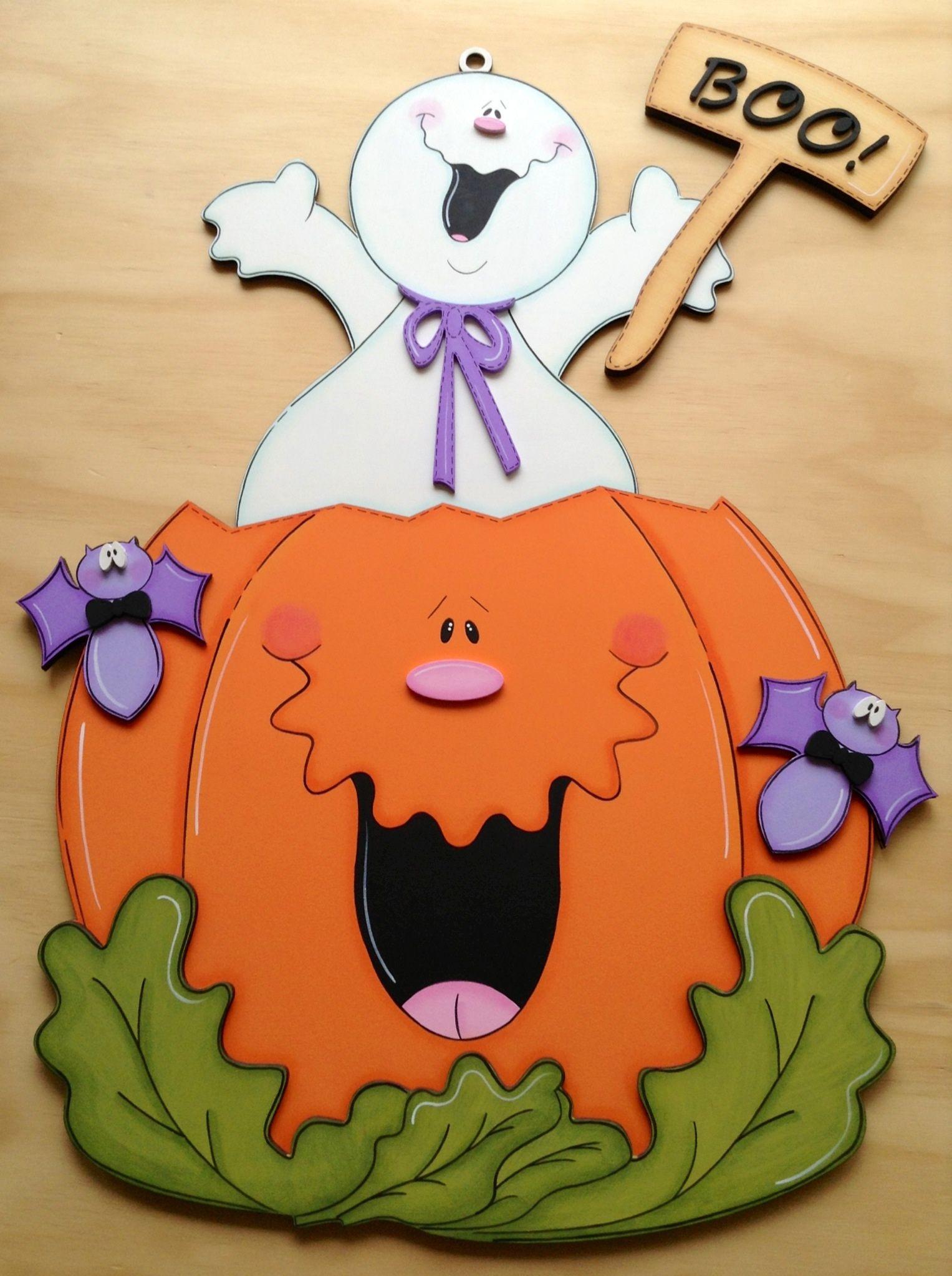Calabaza con fantasma boo halloween pinterest - Calabazas de halloween manualidades ...