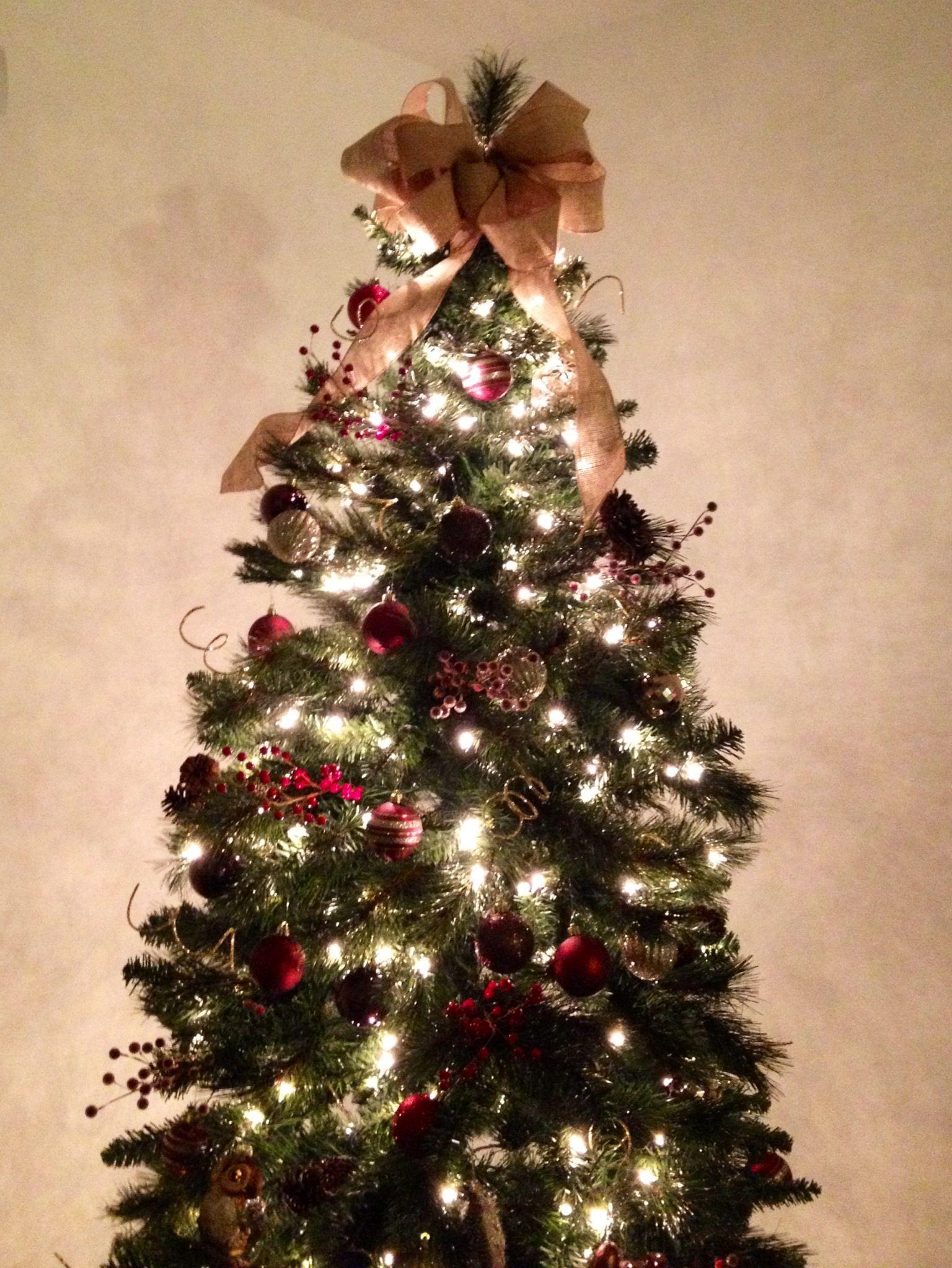 Christmas Tree Burlap Bow Topper Christmas Pinterest