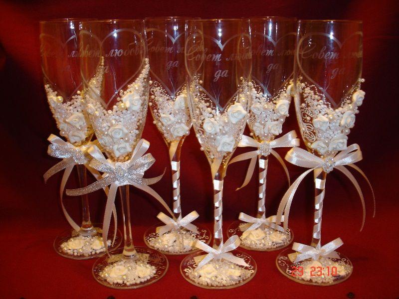 Украшения своими руками на свадьбу бокалы