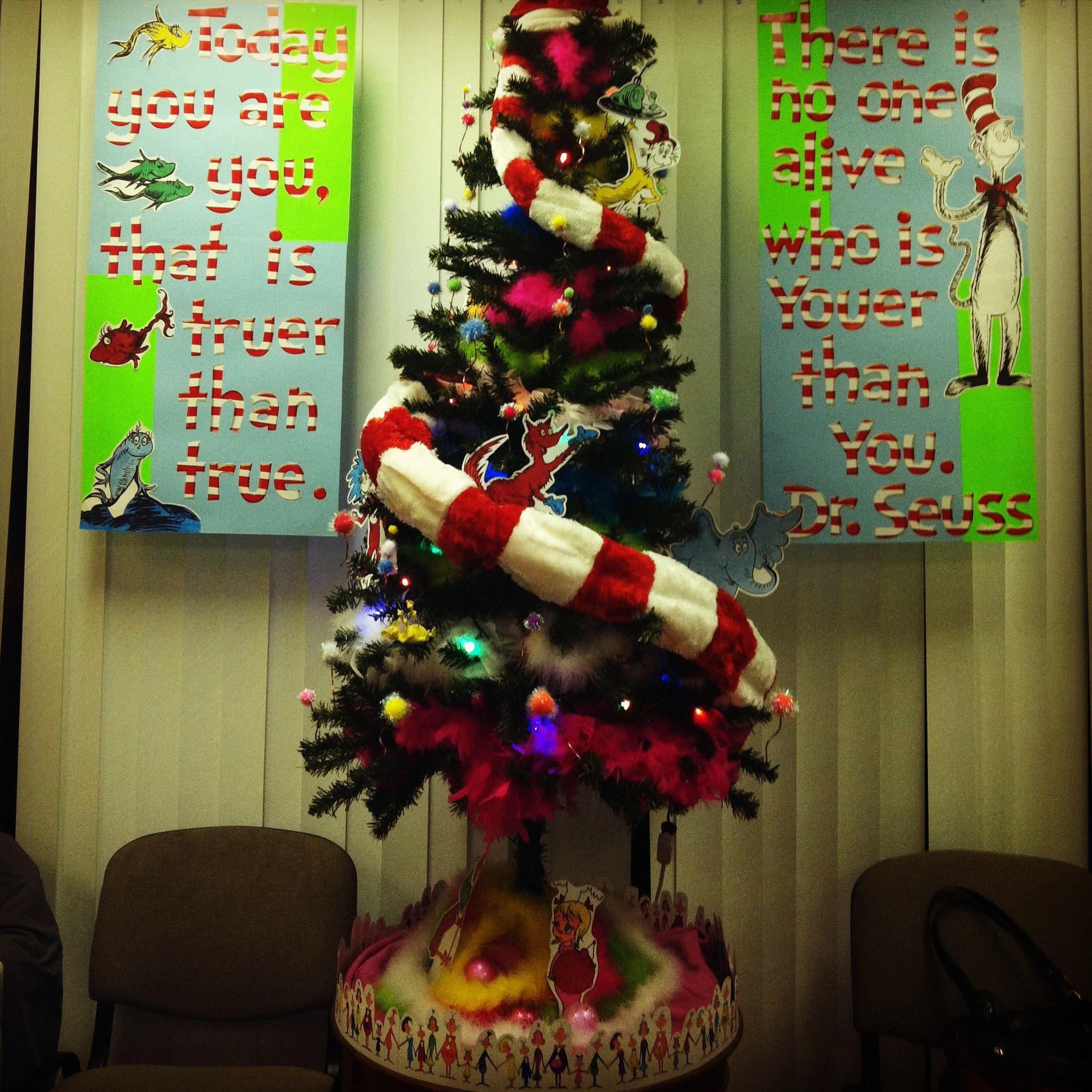 Dr seuss themed christmas tree wishing you a very merry christmas
