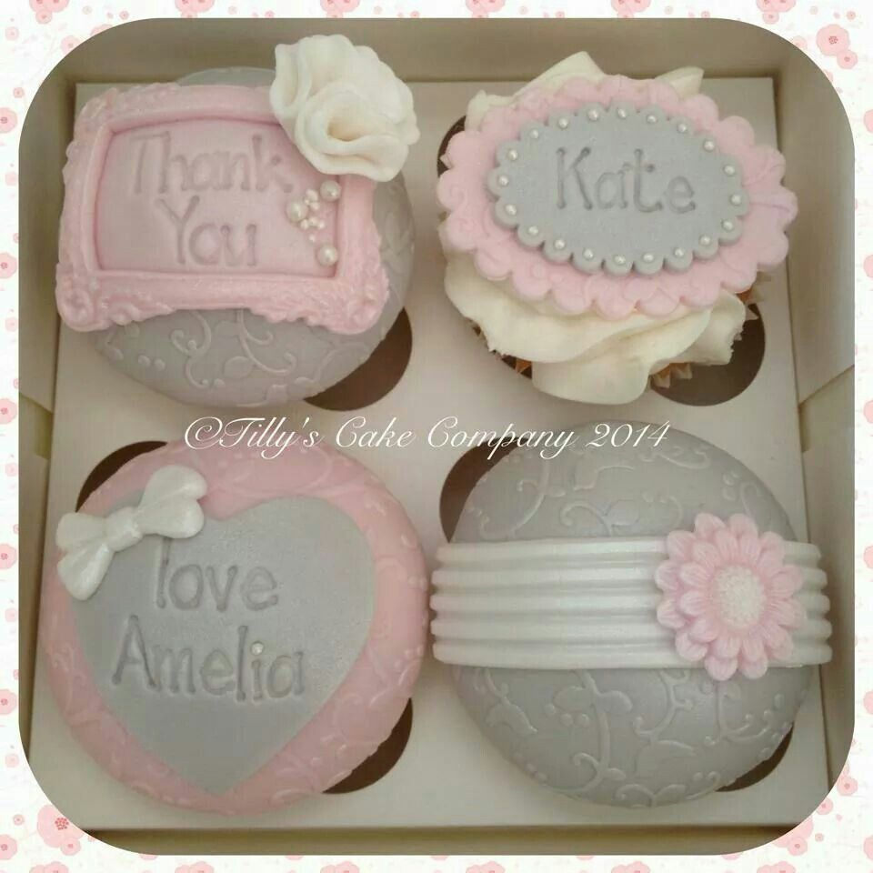 pink and gray cupcakes