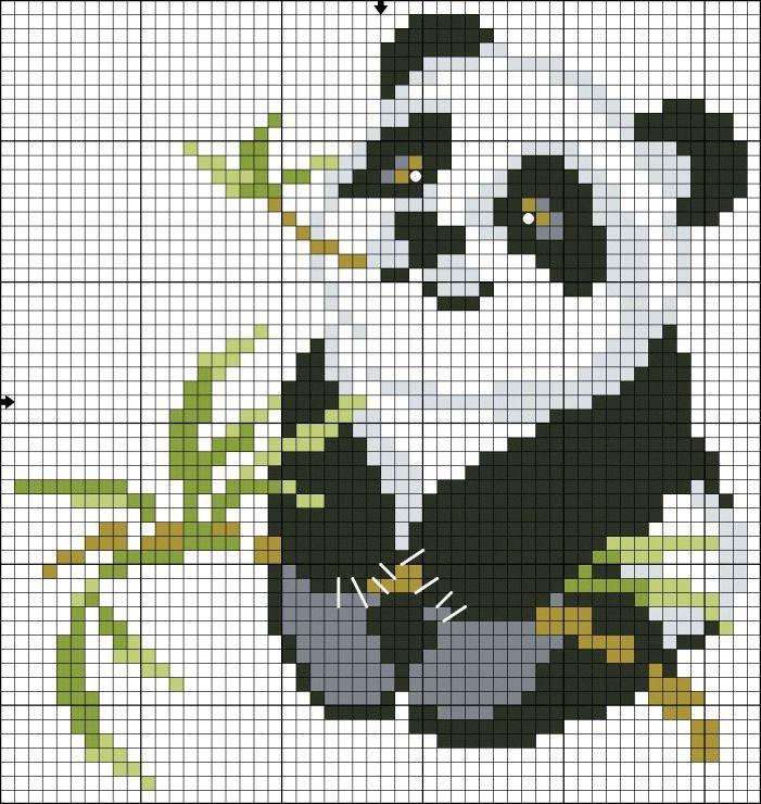 Схема для вышивки крестиком панда