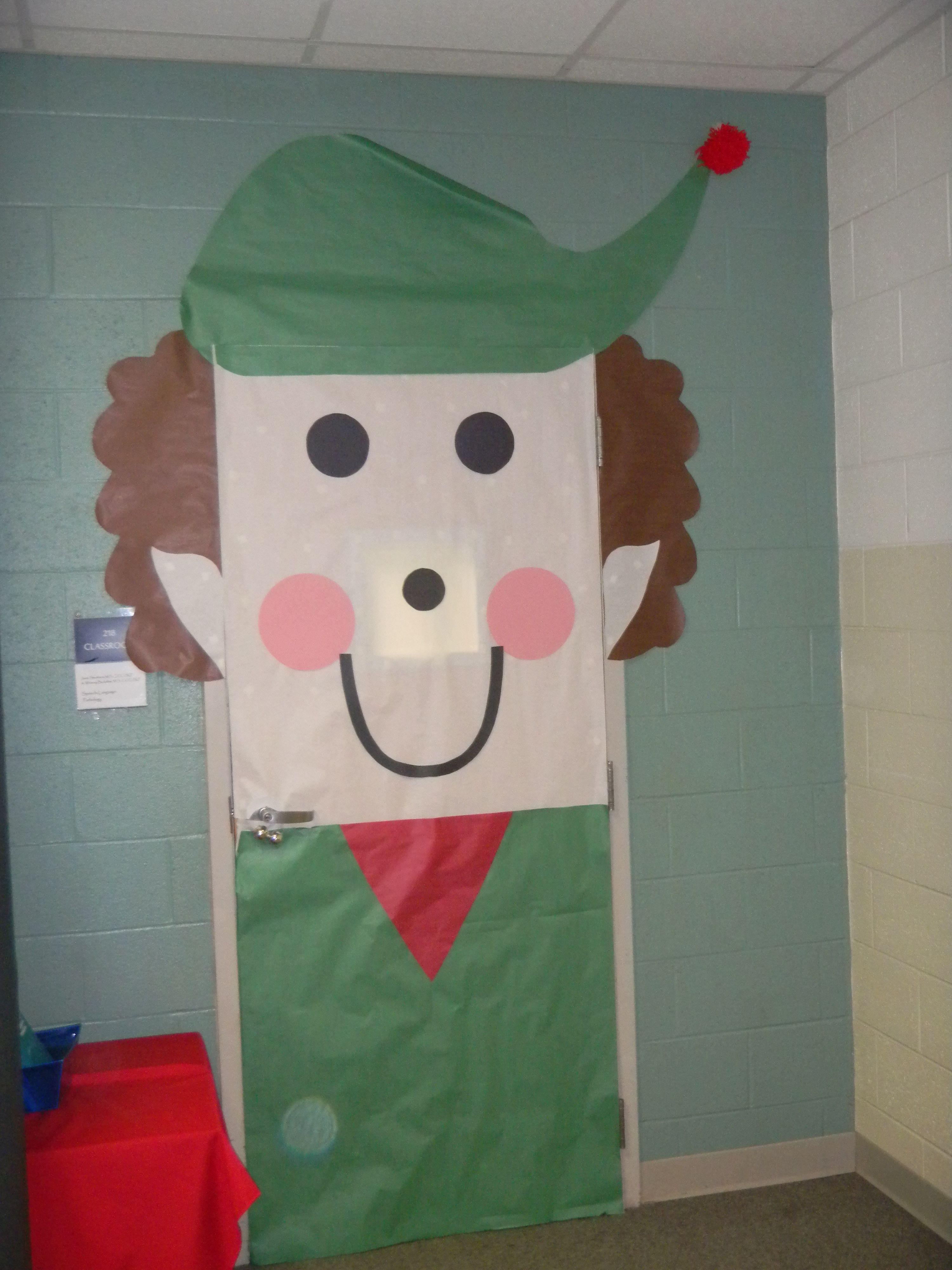 Christmas door decorations reindeer - Elf Door Pinned By Lauren Dowdy Via Pinterest