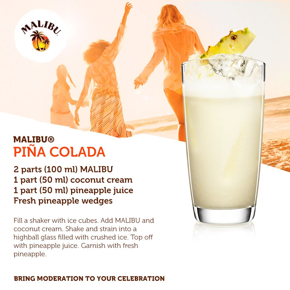 the classic malibu pina colada drinks pinterest. Black Bedroom Furniture Sets. Home Design Ideas