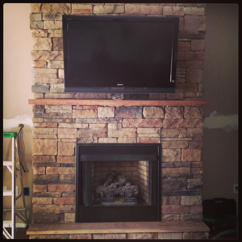 Stacked Rock Fireplace House Stuff Pinterest