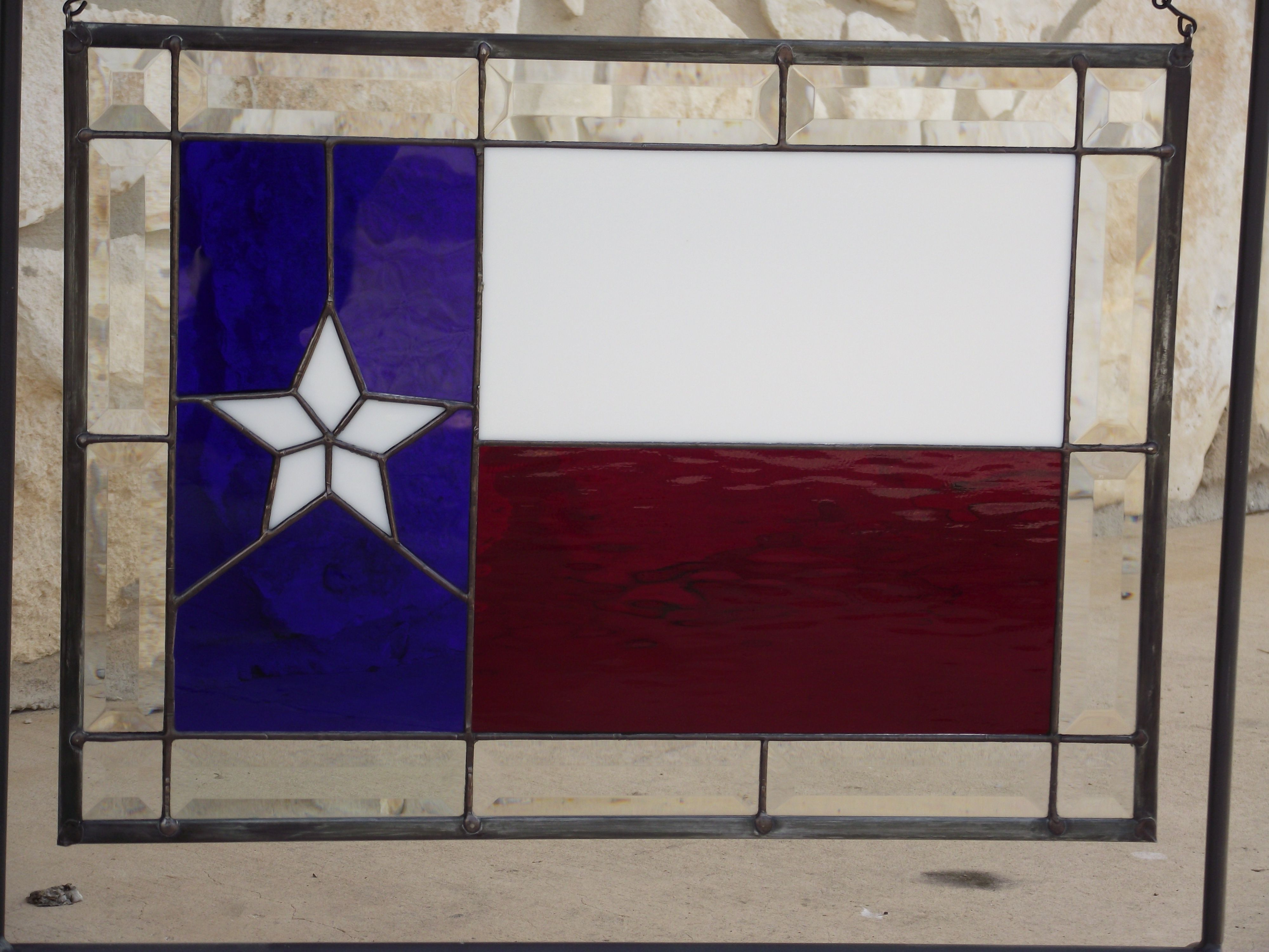 3000 #251464 95 Texas Flag W/ Bevel Border 18x13 Stained Glass/Glass Art Pint  save image Texas Star Front Doors 42074000