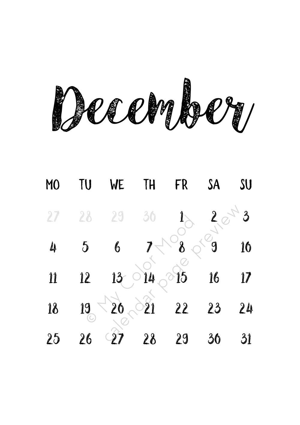 Wall calendar 2017, Digital wall calendar 2017, Monthly calendar ...