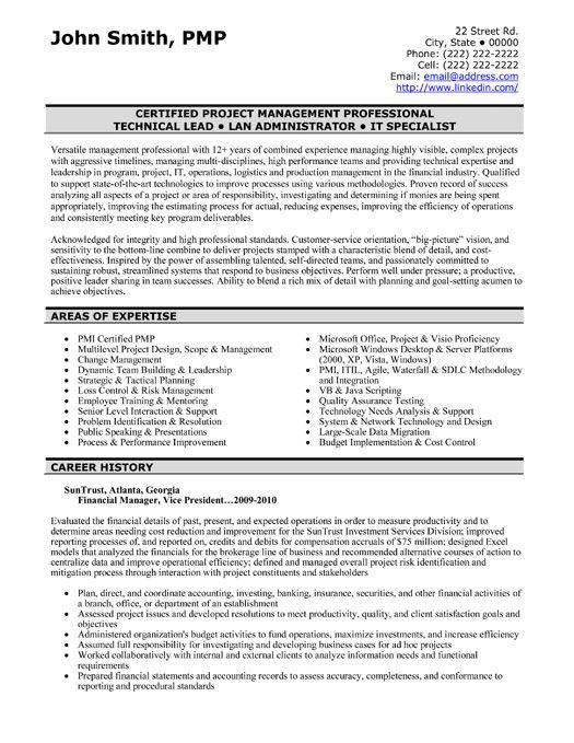 Resume Sample For Finance