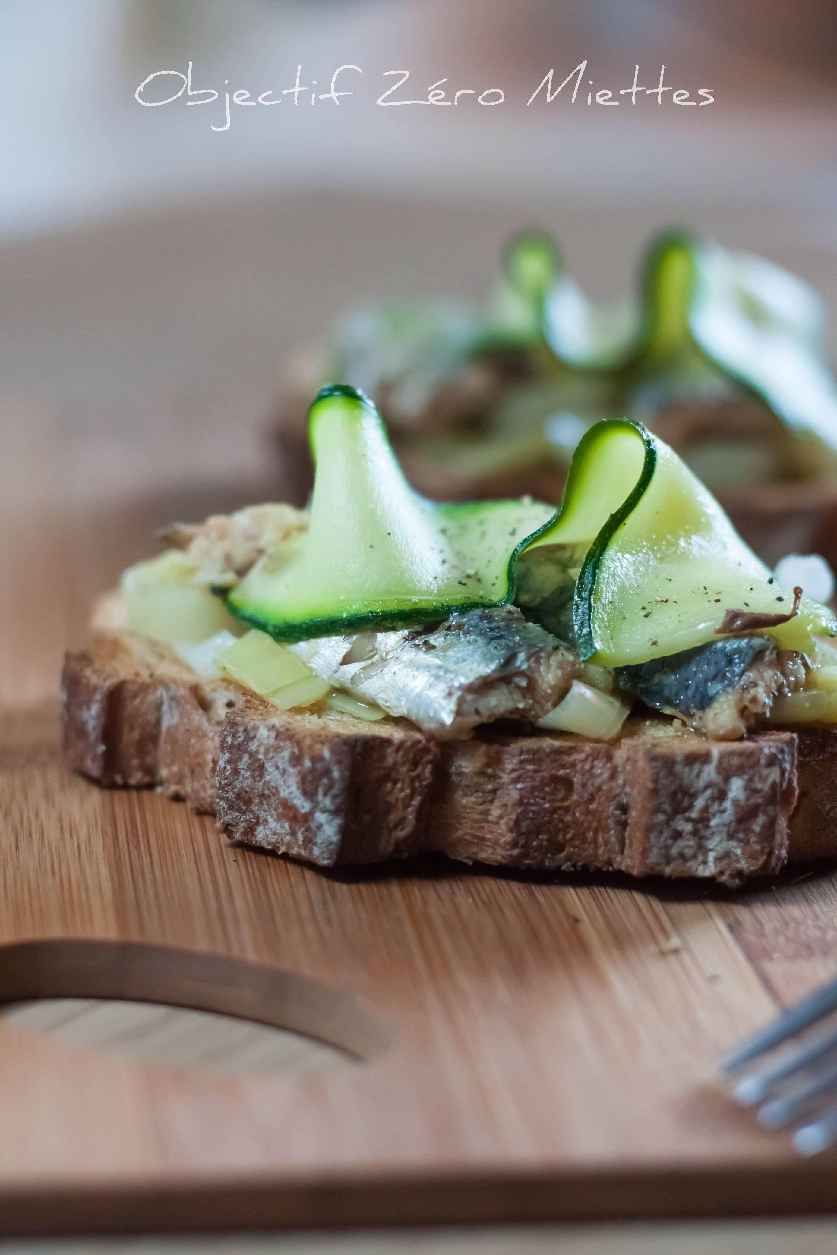 Tartines sardines légumes verts | Zéro Miette - Salé | Pinterest