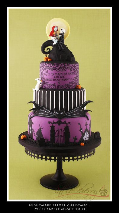 Amazing 'Nightmare Before Christmas' wedding cake. How much fun is that!