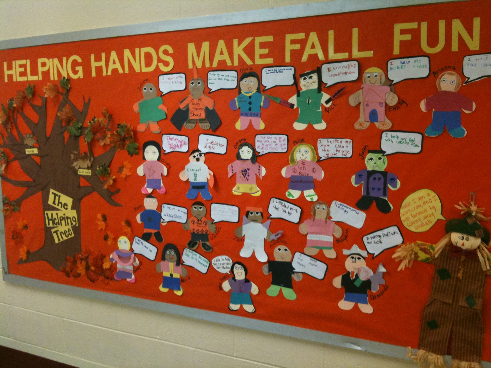 Fall bulletin board helping others school ideas for Cork board decorating ideas pinterest