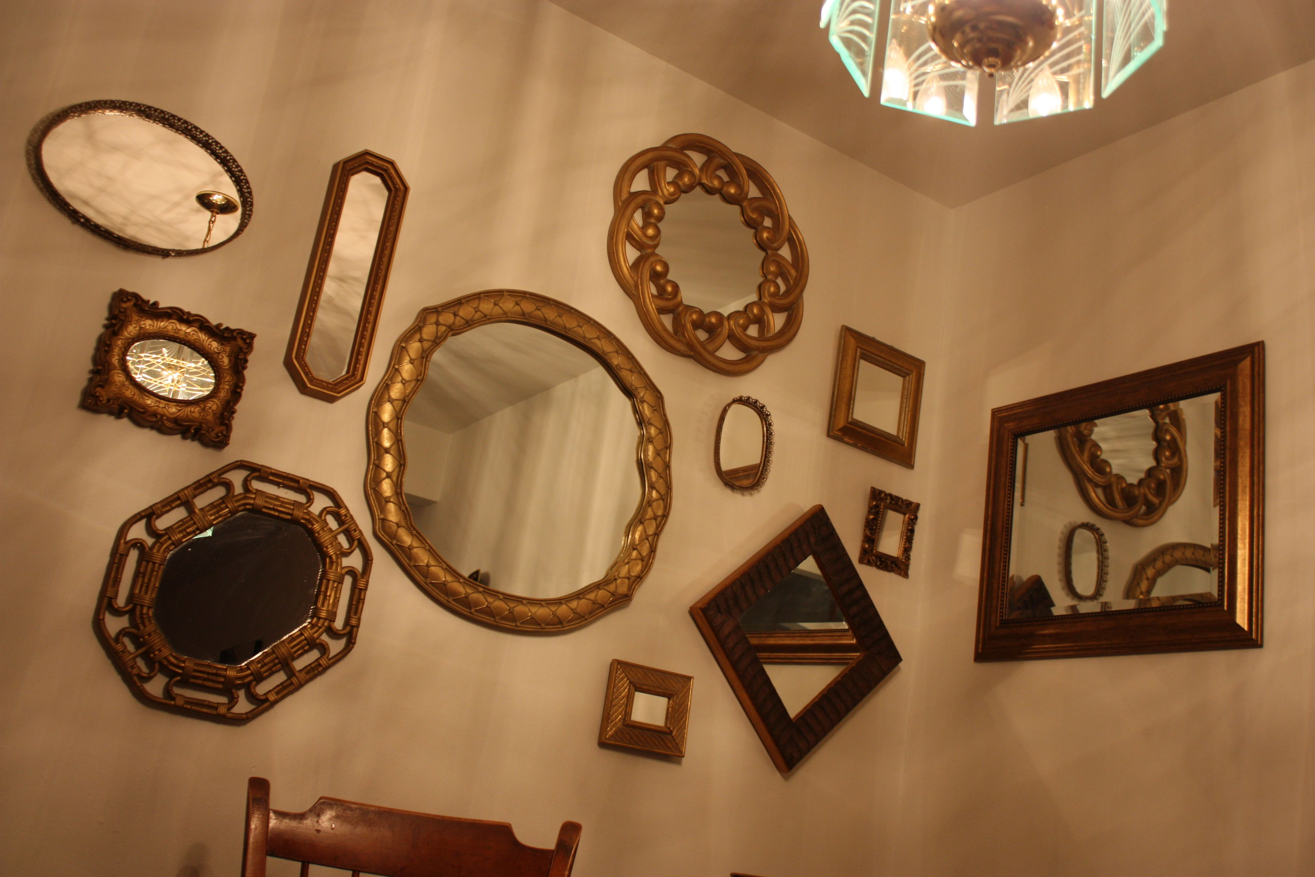 Love my gold mirror collage wall salon pinterest for Mirror collage wall