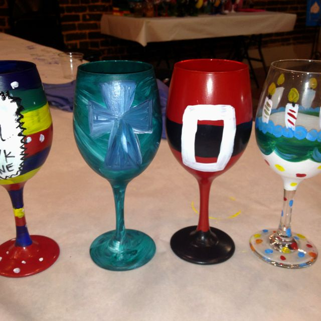 Painted Wine Glasses Crafts Pinterest