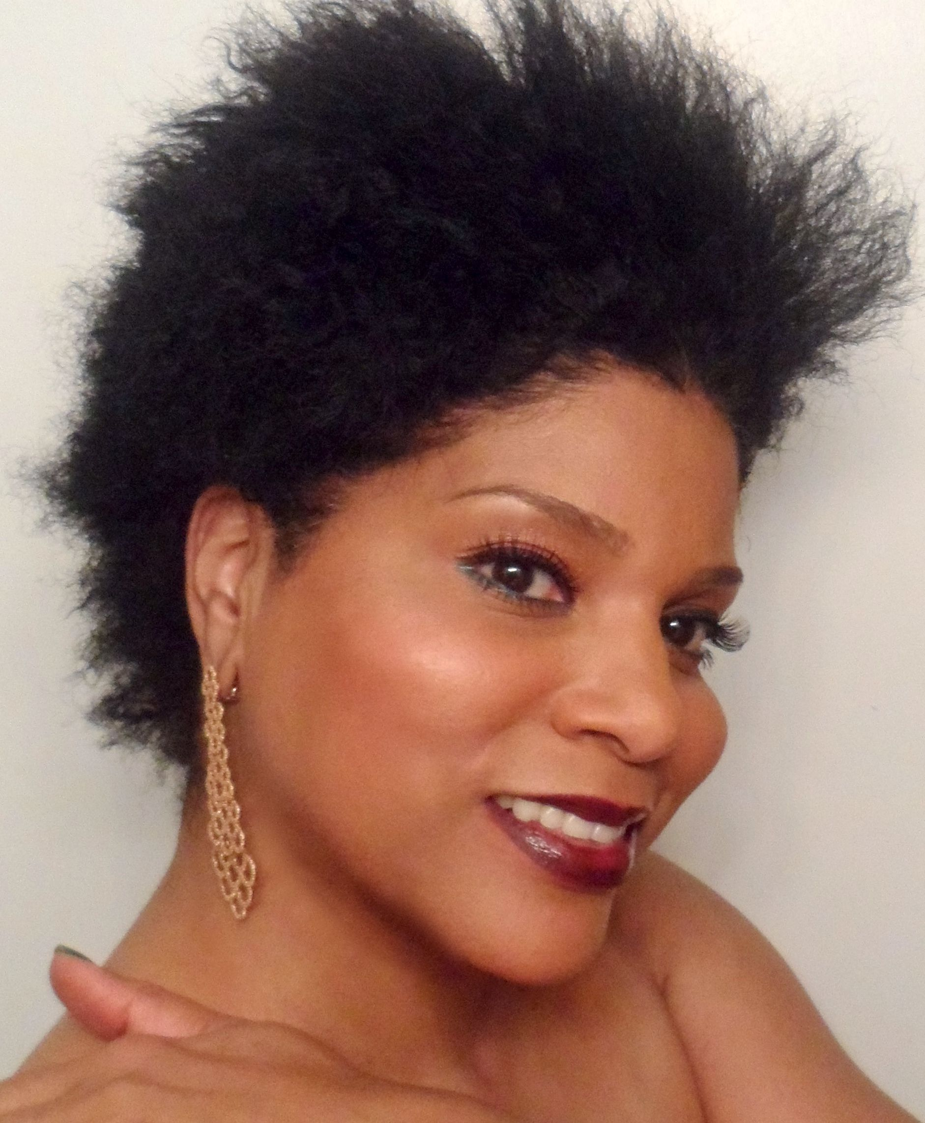 Black natural hair with gel combed out  Natural Hair
