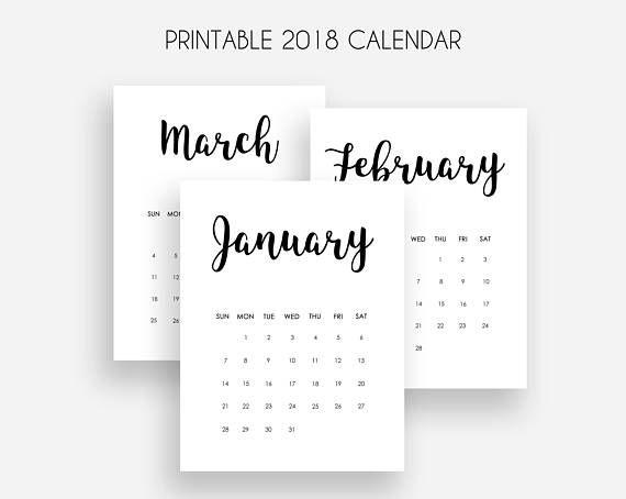 Printable 2018 Calendar Monthly Calendar 2018 Sunday Start | OH ...