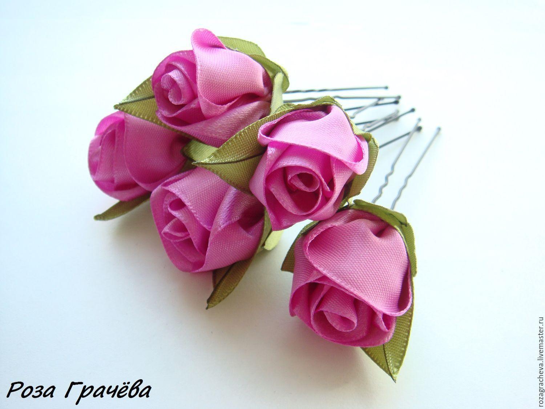 Цветы на заколки из атласных лент
