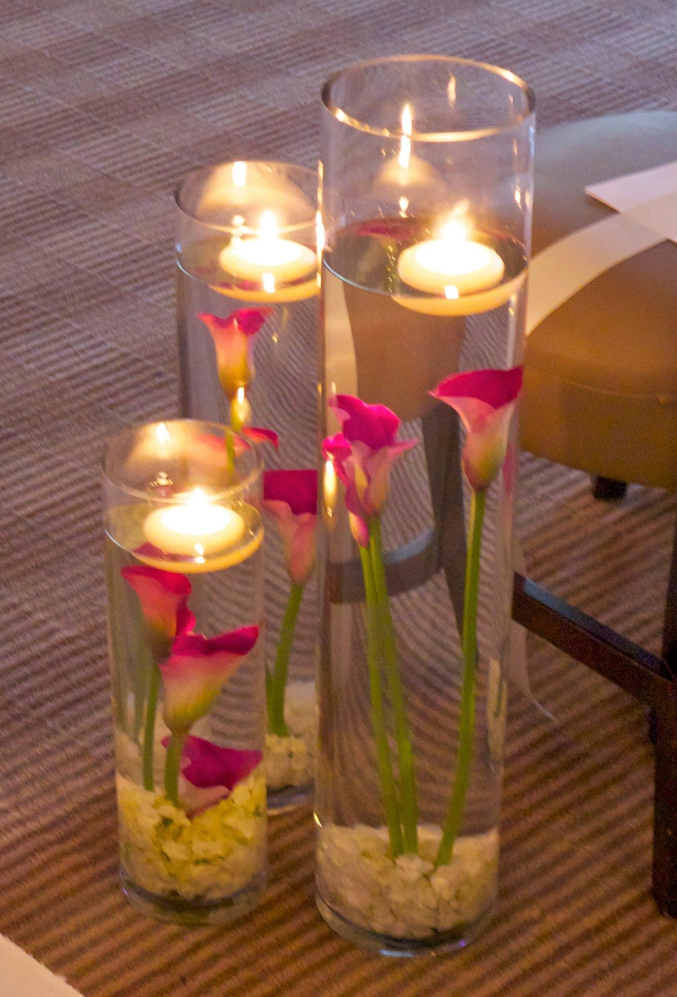 Of floating candles with orchid wedding reception centerp