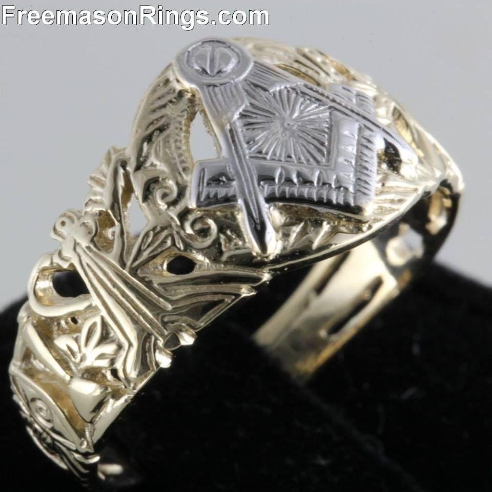 antique lattice two tone masonic ring freemason