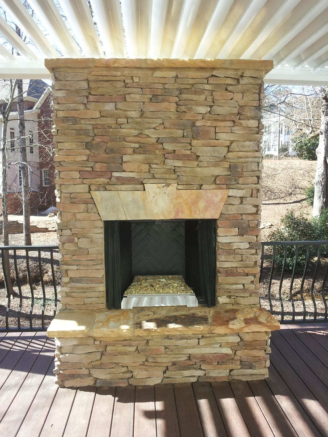 Ventless Stacked Stone Outdoor Fireplace Fireplaces And Firepits