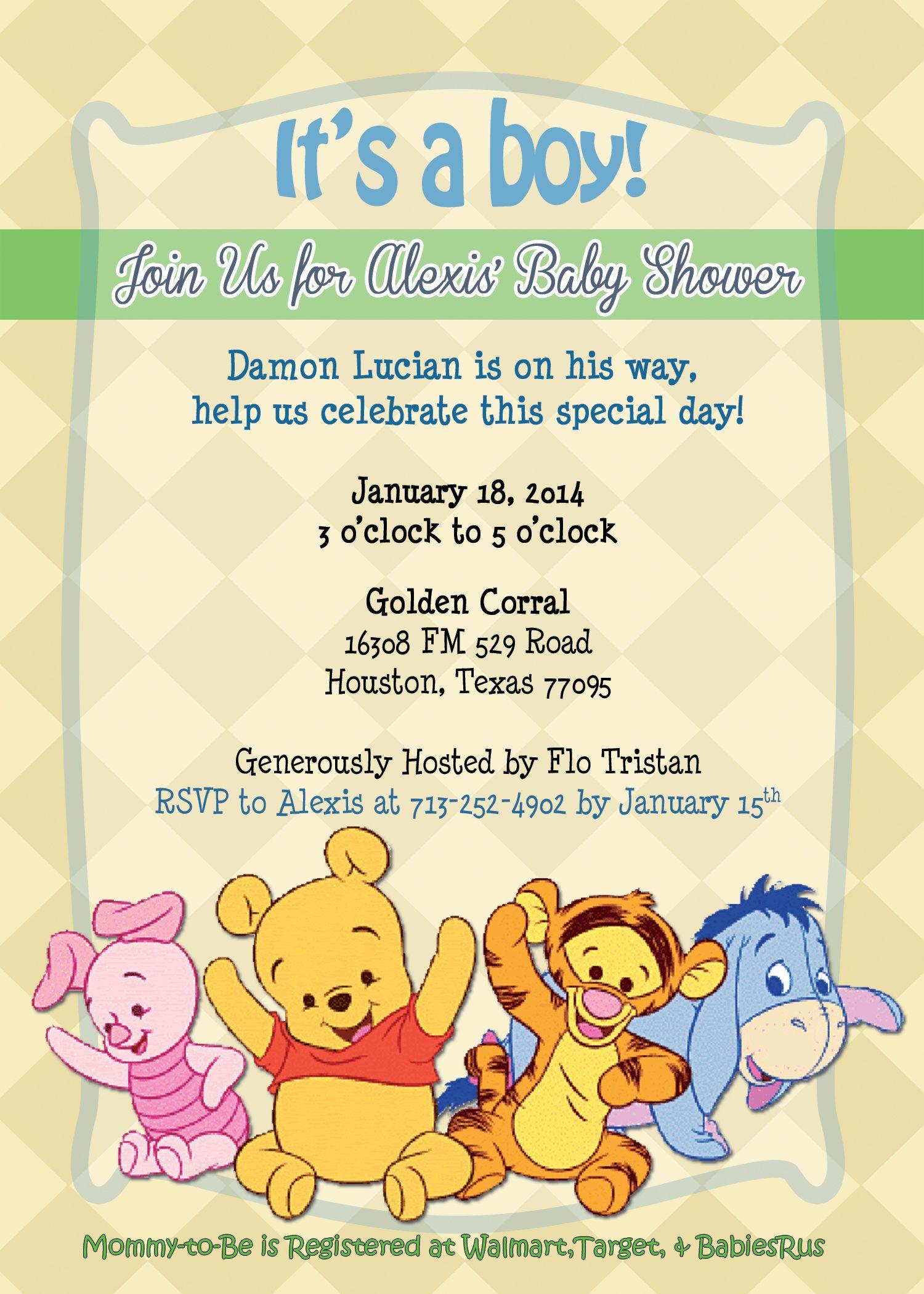 winnie the pooh baby shower invitation baby shower pinterest