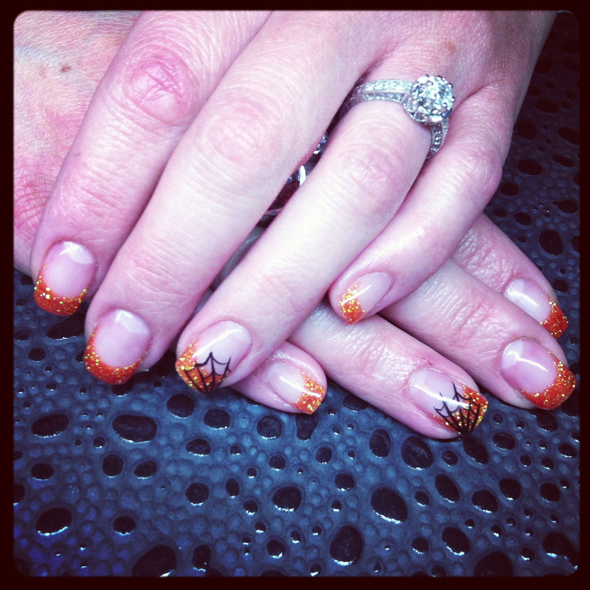 Halloween spiderweb gel nails | Pretty nails | Pinterest