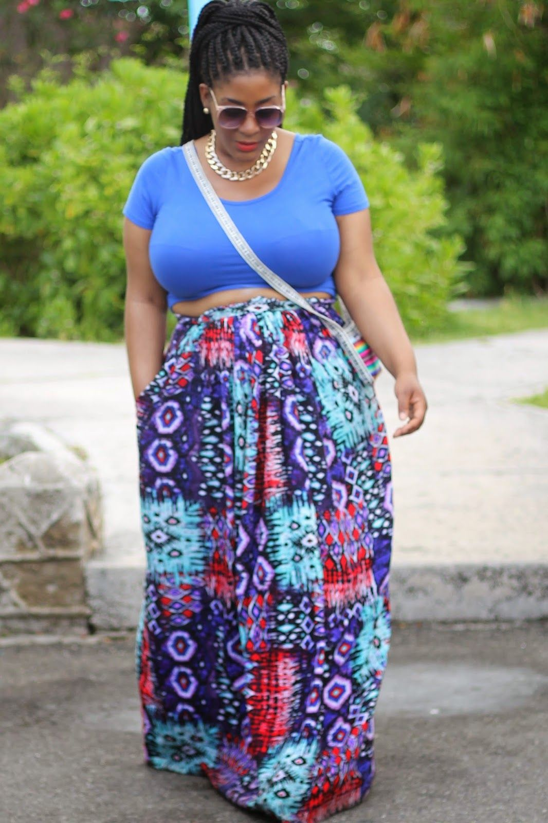 Crop top with high waisted maxi skirt 2017