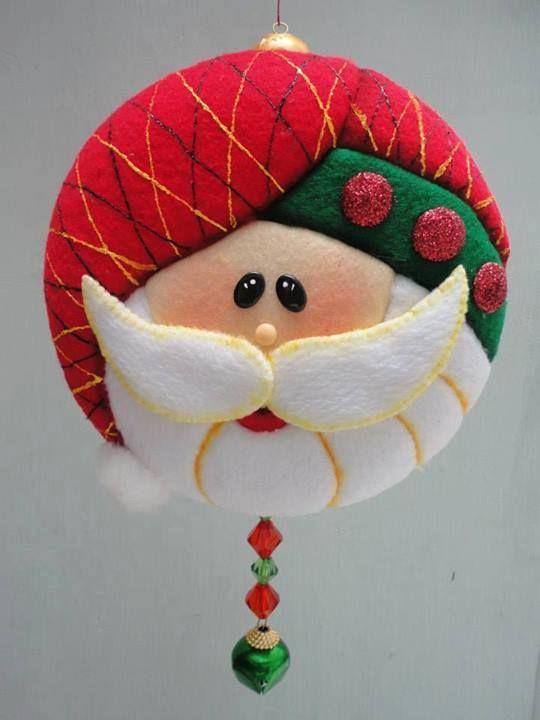 christmas ideas santa ornament christmas fabric christmas craft ...