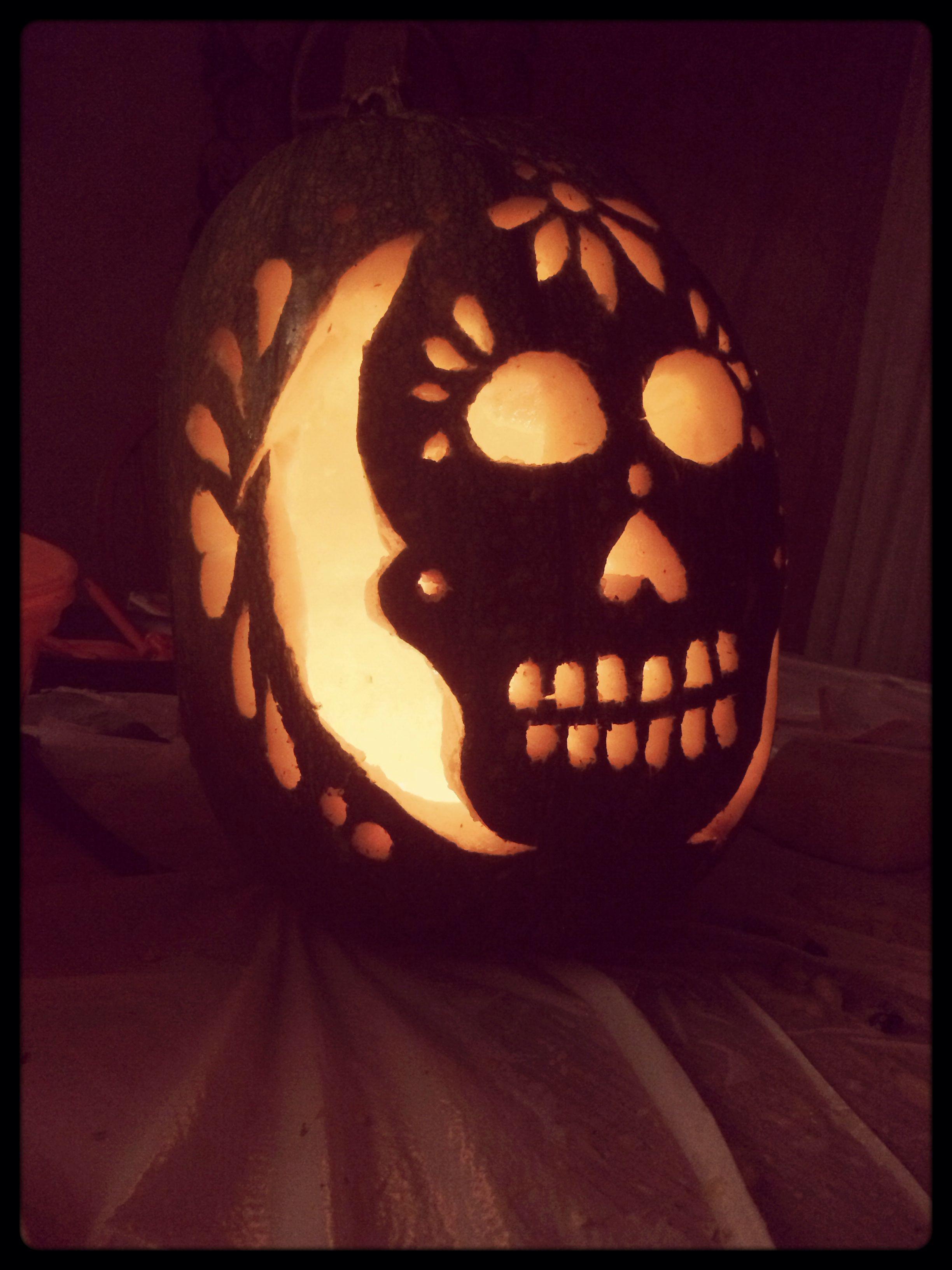 Sugar skull pumpkin carving holidays pinterest